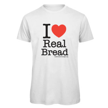 I ❤ Real Bread - Stacked Design - Mens White Organic T-Shirt Thumbnail