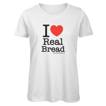 I ❤ Real Bread - Stacked Design - Womens White Organic T-Shirt Thumbnail