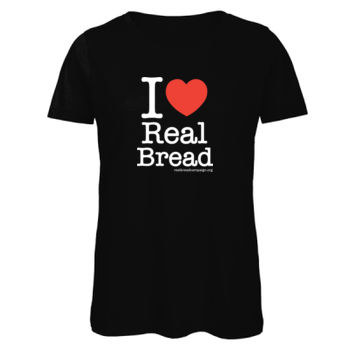 I ❤ Real Bread - Stacked Design - Womens Black Organic T-Shirt Thumbnail